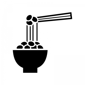納豆の白黒シルエットイラスト02