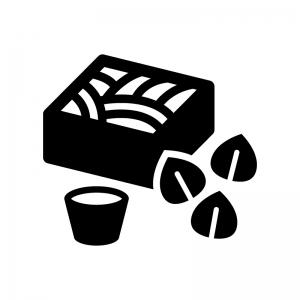 ざる蕎麦とそばの実の白黒シルエットイラスト