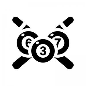 ビリヤードの白黒シルエットイラスト05