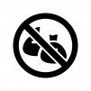 ゴミ捨て禁止の白黒シルエットイラスト