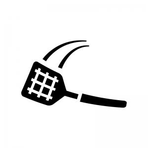 ハエたたきの白黒シルエットイラスト02