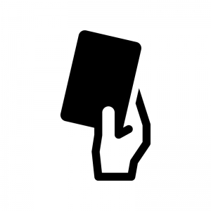 カードを出す白黒シルエットイラスト02