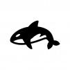 シャチの白黒シルエットイラスト