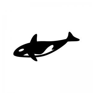 シャチの白黒シルエットイラスト02