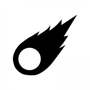 隕石の白黒シルエットイラスト
