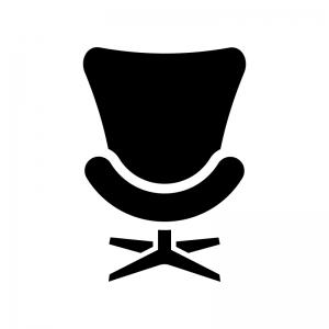 エッグチェアーの白黒シルエットイラスト03