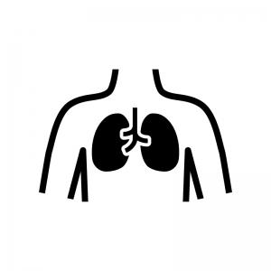 肺の白黒シルエットイラスト04