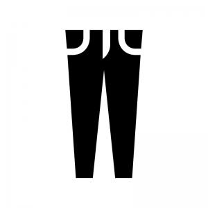 スリム・スキニージーンズの白黒シルエットイラスト