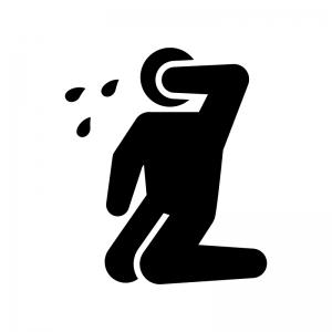 泣く人物の白黒シルエットイラスト