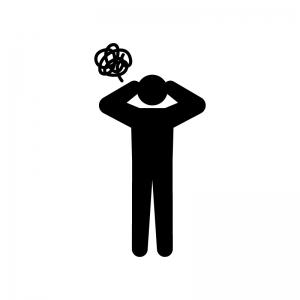 お手上げ状態の人のシルエット02 | 無料のAi・PNG白黒シルエットイラスト