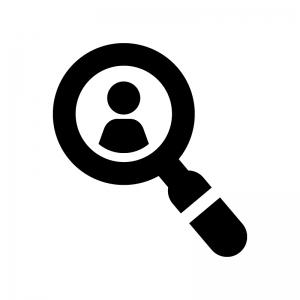 人物を検索の白黒シルエットイラスト