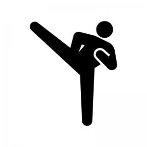 格闘技・キックの白黒シルエットイラスト