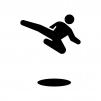 格闘技・キックの白黒シルエットイラスト02
