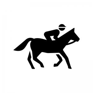 競走馬に乗ったジョッキーの白黒シルエットイラスト