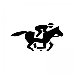 競走馬に乗ったジョッキーの白黒シルエットイラスト02