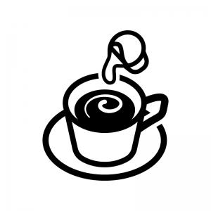 コーヒーフレッシュ(ポーション)の白黒シルエットイラスト04