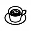 ミルク入りコーヒーの白黒シルエットイラスト