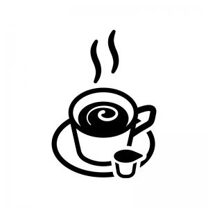 ミルク入りコーヒーの白黒シルエットイラスト02