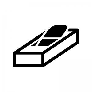 工具・カンナの白黒シルエットイラスト