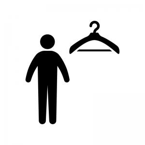 更衣室・男性の白黒シルエットイラスト