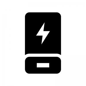 モバイルバッテリーの白黒シルエットイラスト
