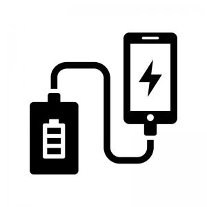 モバイルバッテリーから充電の白黒シルエットイラスト02