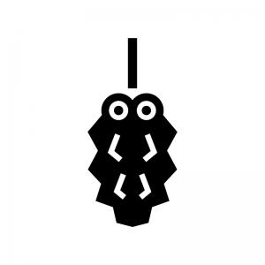 ミノムシの白黒シルエットイラスト