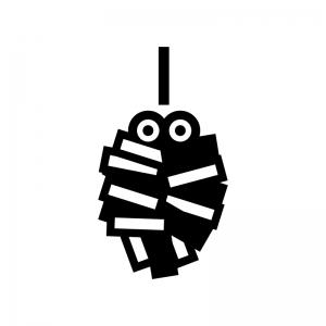 ミノムシの白黒シルエットイラスト02