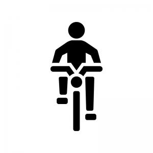 自転車(正面)の白黒シルエットイラスト02