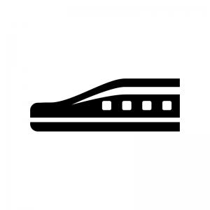 リニアモーターカーの白黒シルエットイラスト