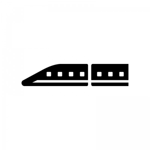 リニアモーターカーの白黒シルエットイラスト02