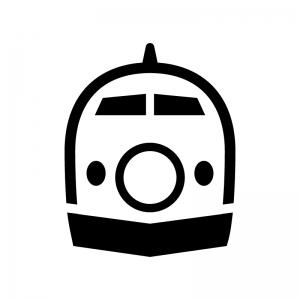 新幹線(正面)の白黒シルエットイラスト