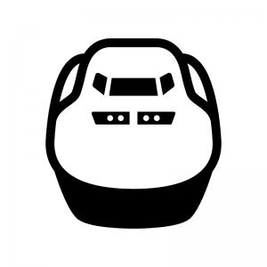新幹線(正面)の白黒シルエットイラスト02