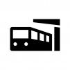 電車と駅の白黒シルエットイラスト