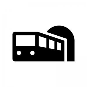 電車とトンネルの白黒シルエットイラスト