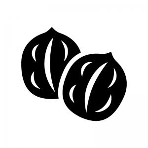 クルミの白黒シルエットイラスト