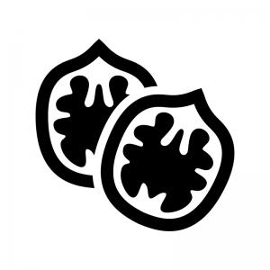 クルミの白黒シルエットイラスト02