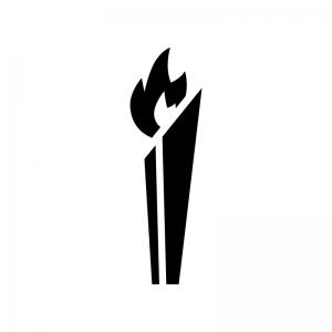 聖火の白黒シルエットイラスト02