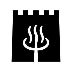 温泉マークの暖簾(のれん)の白黒シルエットイラスト