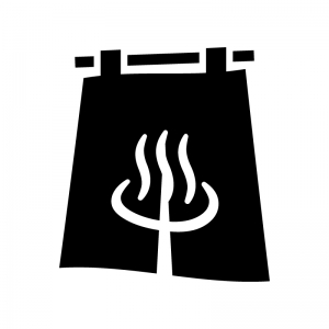 温泉マークの暖簾(のれん)の白黒シルエットイラスト02