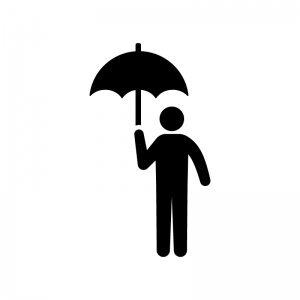 傘をさす人物の白黒シルエットイラスト