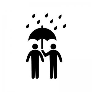 傘をさす人物の白黒シルエットイラスト02