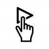 再生ボタンを押す白黒シルエットイラスト