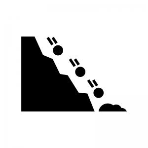 落石注意の白黒シルエットイラスト