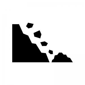 落石注意の白黒シルエットイラスト02