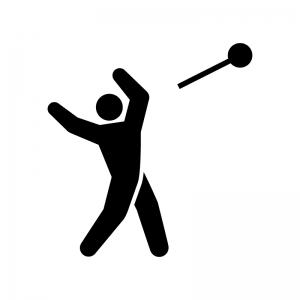 ハンマー投げの白黒シルエットイラスト02