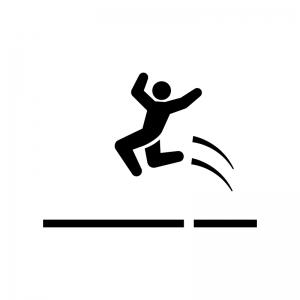 走り幅跳びの白黒シルエットイラスト