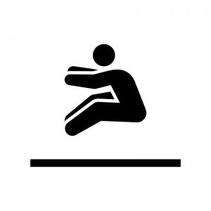 走り幅跳びの白黒シルエットイラスト02