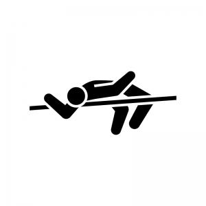 走り高跳びの白黒シルエットイラスト