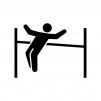走り高跳びの白黒シルエットイラスト02